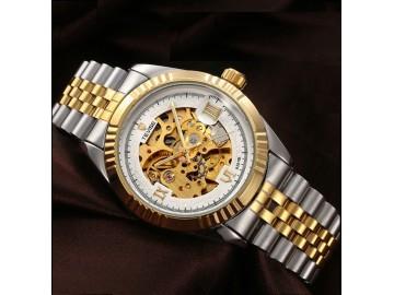 Relógio Tevise 8391B Masculino Automático Pulseira de Aço - Branco e Dourado