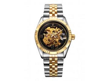 Relógio Tevise 8391B Masculino Automático Pulseira de Aço - Preto e Dourado