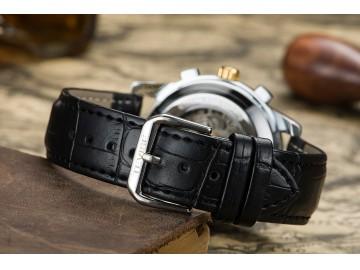 Relógio Tevise 9005 Masculino Automático Pulseira de Couro - Preto e Dourado