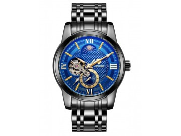 Relógio Tevise T805C Hollow Masculino Automático Pulseira de Aço - Azul