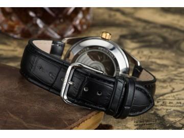 Relógio Tevise 629-003 Masculino Automático Pulseira de Couro Preto - Preto e Dourado