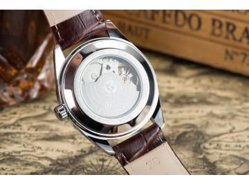 Relógio Tevise 629-003 Masculino Automático Pulseira de Couro - Branco e Dourado