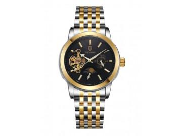 Relógio Tevise 8408 Masculino Automático Pulseira de Aço Inoxidável - Preto e Dourado