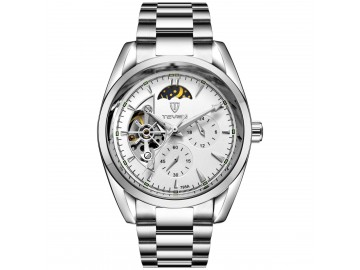 Relógio Tevise 795A Masculino Automático Pulseira de Aço Inoxidável - Branco