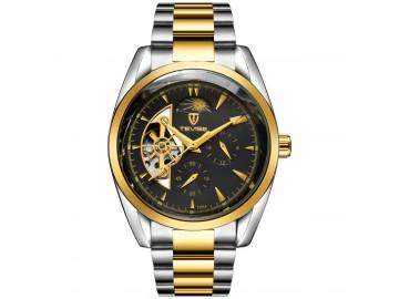 Relógio Tevise 795A Masculino Automático Pulseira de Aço Inoxidável - Preto e Dourado