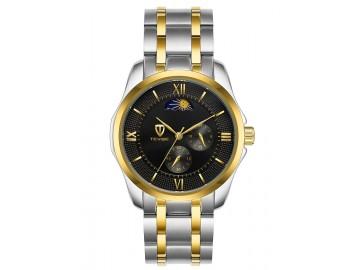 Relógio Tevise 9036G Masculino Automático Pulseira de Aço Inoxidável - Preto e Dourado