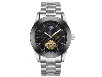 Relógio Tevise 8378 Masculino Automático Pulseira de Aço Inoxidável - Branco e Preto
