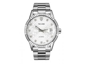 Relógio Tevise T629C Masculino Automático Pulseira de Aço Inoxidável - Branco