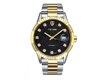 Relógio Tevise T629C Masculino Automático Pulseira de Aço Inoxidável - Preto e Dourado