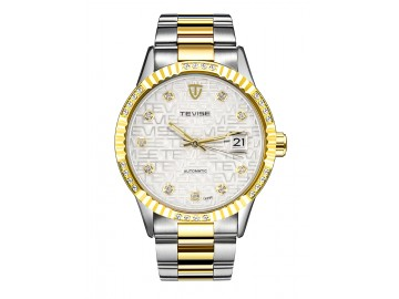 Relógio Tevise T629C Masculino Automático Pulseira de Aço Inoxidável - Branco e Dourado