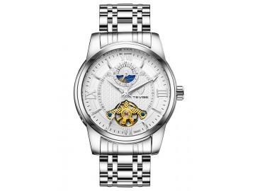 Relógio Tevise T805D Masculino Automático Pulseira de Aço Inoxidável - Branco