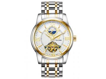 Relógio Tevise T805D Masculino Automático Pulseira de Aço Inoxidável - Branco e Dourado
