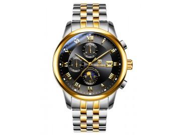 Relógio Tevise 9008 Masculino Automático Pulseira de Aço Inoxidável - Preto e Dourado