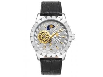 Relógio Tevise T810B Masculino Automático Pulseira de Couro Preto - Branco
