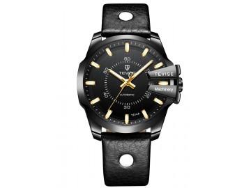 Relógio Tevise T814 Masculino Automático Pulseira de Couro Preto - Preto