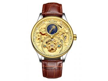 Relógio Tevise T820A Masculino Automático Pulseira de Couro Marrom - Dourado
