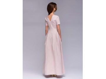 Vestido Longo Floral com Laço - Rosa