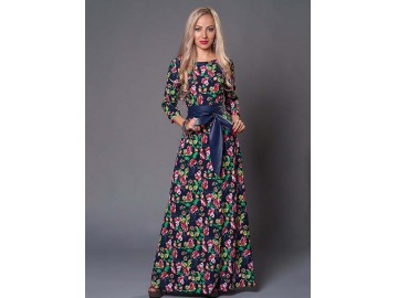 Vestido Longo Floral com Laço - Azul
