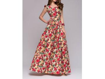 Vestido Longo Estampa Flores Manga Raglán - Vermelho