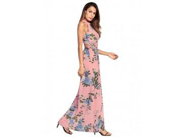 Vestido Longo Floral com Laço nas Costas - Rosa