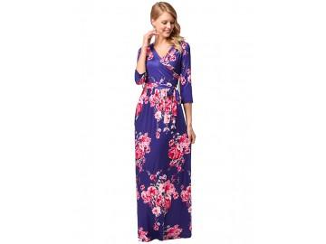 Vestido Longo Floral com com Cinto Manga 3/4 - Azul Royal