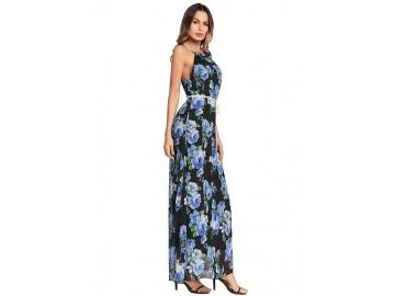 Vestido Longo Floral com com Cinto Sem Mangas - Azul