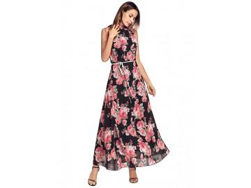 Vestido Longo Floral com com Cinto Sem Mangas - Preto