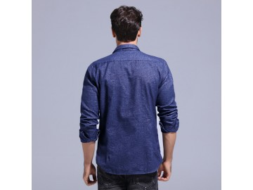 Camisa Masculina Slim Manga Longa - Azul Marinho
