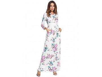 Vestido Longo Estampa de Rosas - Branco