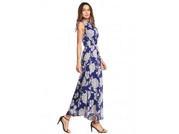 Vestido Longo Floral Sem Manga - Azul