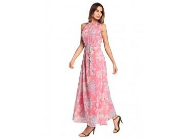 Vestido Longo Floral Sem Manga - Rosa