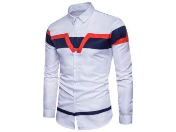 Camisa Masculina Slim Estampada Manga Longa - Branco