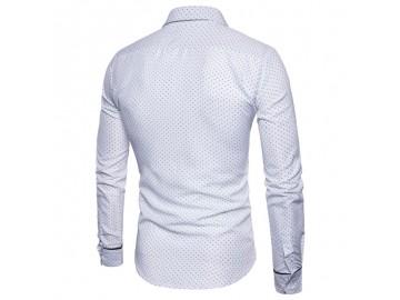 Camisa Masculina Slim Point Poás Manga Longa - Branco
