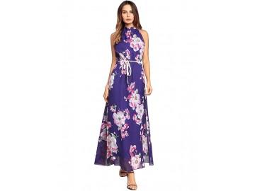 Vestido Longo Estampa de Flores Sem Manga - Violeta