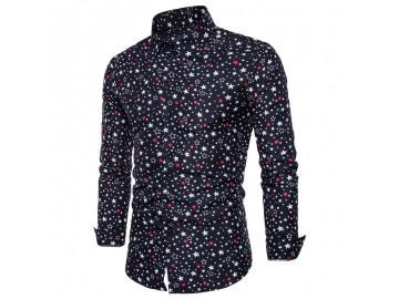 Camisa Masculina Slim Estampa de Estrelas Manga Longa - Preto