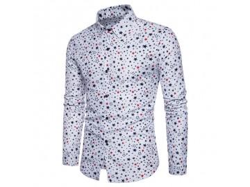 Camisa Masculina Slim Estampa de Estrelas Manga Longa - Branco