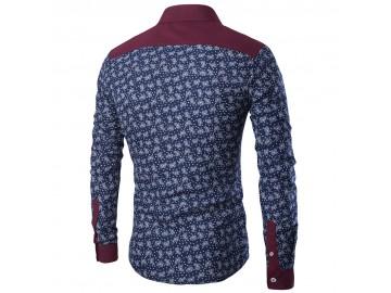 Camisa Masculina Slim Estampada Manga Longa - Azul Marinho