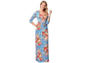 Vestido Longo Florido com Laço Manga 3/4 - Azul Claro