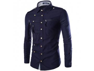 Camisa Masculina Slim Abotoada Manga Longa - Azul Marinho