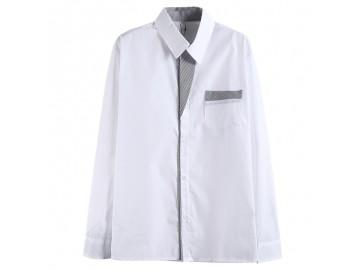 Camisa Masculina Slim Com Listras Manga Longa - Branco