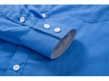 Camisa Masculina Slim Com Listras Manga Longa - Azul
