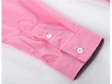 Camisa Masculina Slim Com Listras Manga Longa - Rosa