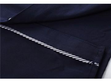 Camisa Masculina Slim Com Listras Manga Longa - Azul Escuro