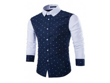 Camisa Masculina Slim Estampa Caveiras Manga Longa - Azul Marinho