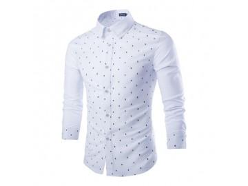 Camisa Masculina Slim Estampa Caveiras Manga Longa - Branco