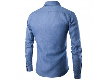 Camisa Masculina Slim Jeans Manga Longa - Azul Claro