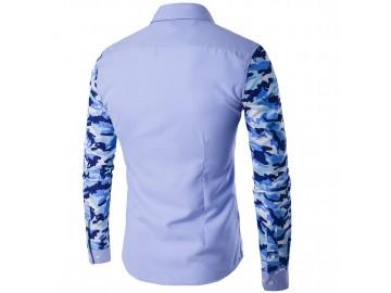 Camisa Masculina Slim com Estampa Camuflada Manga Longa - Azul