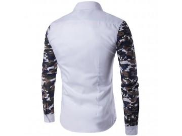 Camisa Masculina Slim com Estampa Camuflada Manga Longa - Branco