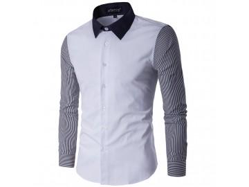 Camisa Masculina Slim Listrada Manga Longa - Branco