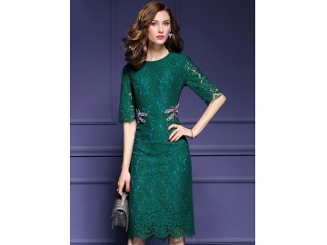 Vestido de Renda Elegante Manga Curta - Verde